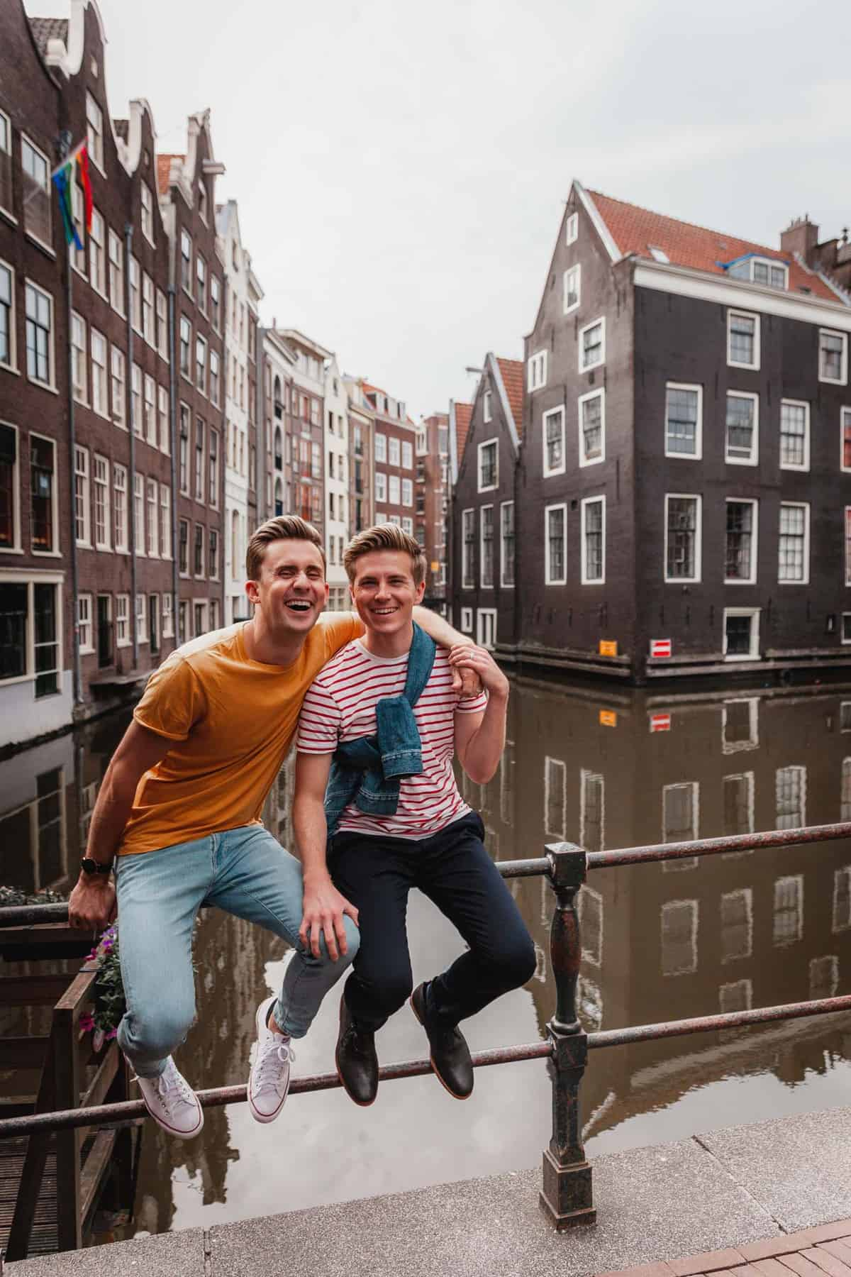 Gay Couple photoshoot Amsterdam Canals